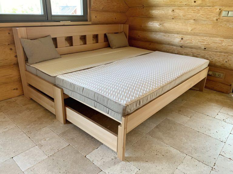 rozkládací postel z masivu Jacques 2